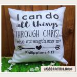 "An inspirational bible scripture cushion with a message to say ""I can do things through Christ who strengthens me"" from Philippians 4.13. An ideal gift for a Contemporary Christian to decorate their modern home or office."