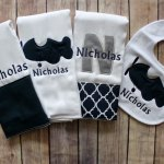 This three burp cloth and bib set is perfect for the airplane fan! The navy and grey color scheme is classic and timeless for your sweet baby boy. The three burp cloths feature navy monograms and appliques and the bib features a matching airplane applique. Our burp cloths and bibs are 100% cotton, super thick and absorbent, and boutique quality. They won't disappoint!