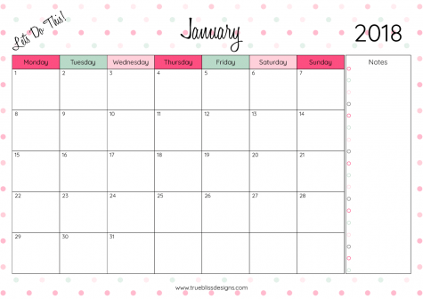 2018 monthly printable calendar let s do this true bliss designs
