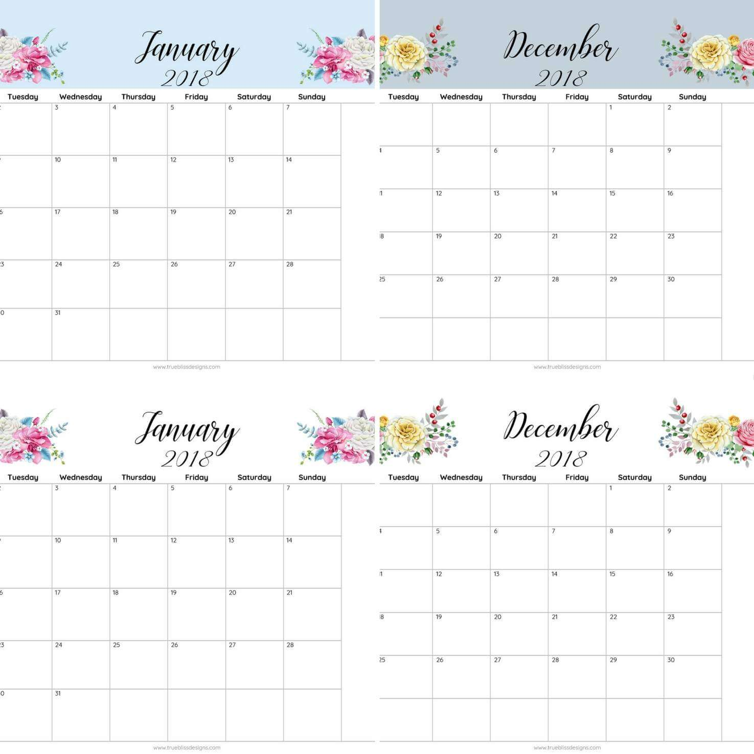 2018 Floral Printable Monthly Calendar   True Bliss Designs