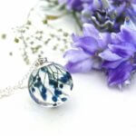 Blue Flower Sphere Necklace