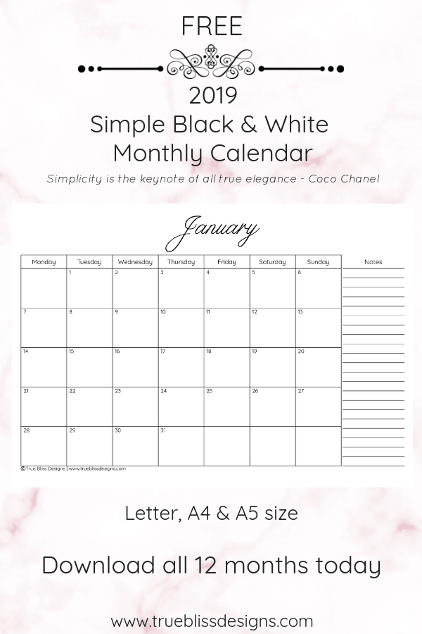 Free monthly 2019 calendar available to download in a classic ink-friendly simple design available. Download and check out other simple black and white printable planners at www.trueblissdesigns.com. #printable #calendar #2019calendar #freeprintable