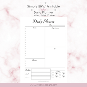 Simple Black and White Printable Planners - True Bliss Designs