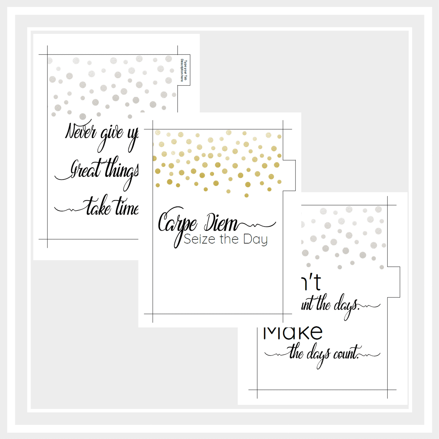 image regarding Printable Dividers known as A5 Printable Planner Dividers with Inspirational Prices