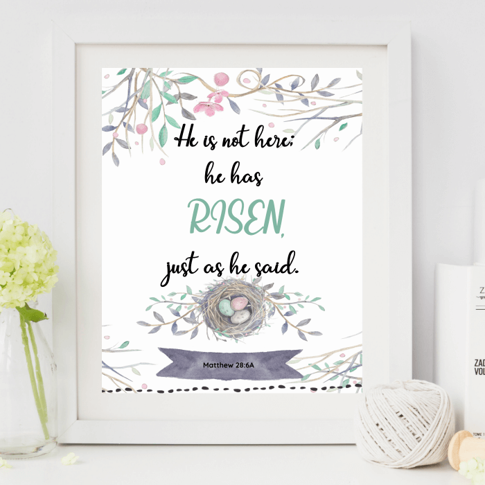 """""""He is not here; he has risen, just as he said."""" Download this free printable art scripture quote from the book of Matthew. More freebies at www.trueblissdesigns.com"""