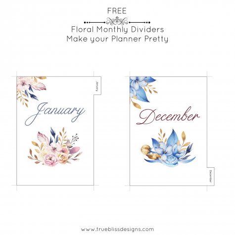 These monthly printable dividers with watercolor floral images are designed for A5 planners such as Kikki K. Download your free DIY dividers today and make your planner pretty! For more freebies, visit www.trueblissdesigns.com. #floral #printable #planner #planneraddict
