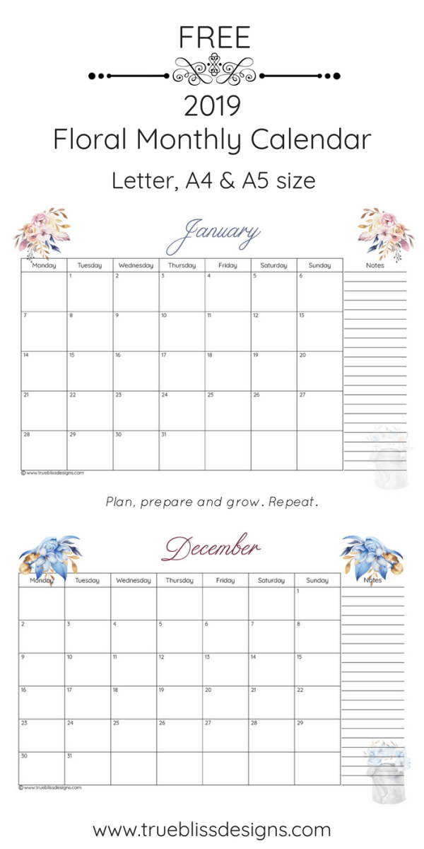 Organise all your dates from January to December with this free 2019 floral printable monthly calendar. This monthly calendar has a different watercolour design for every month and comes in Letter, A4 and A5 size. For more freebies, visit www.trueblissdesigns.com.