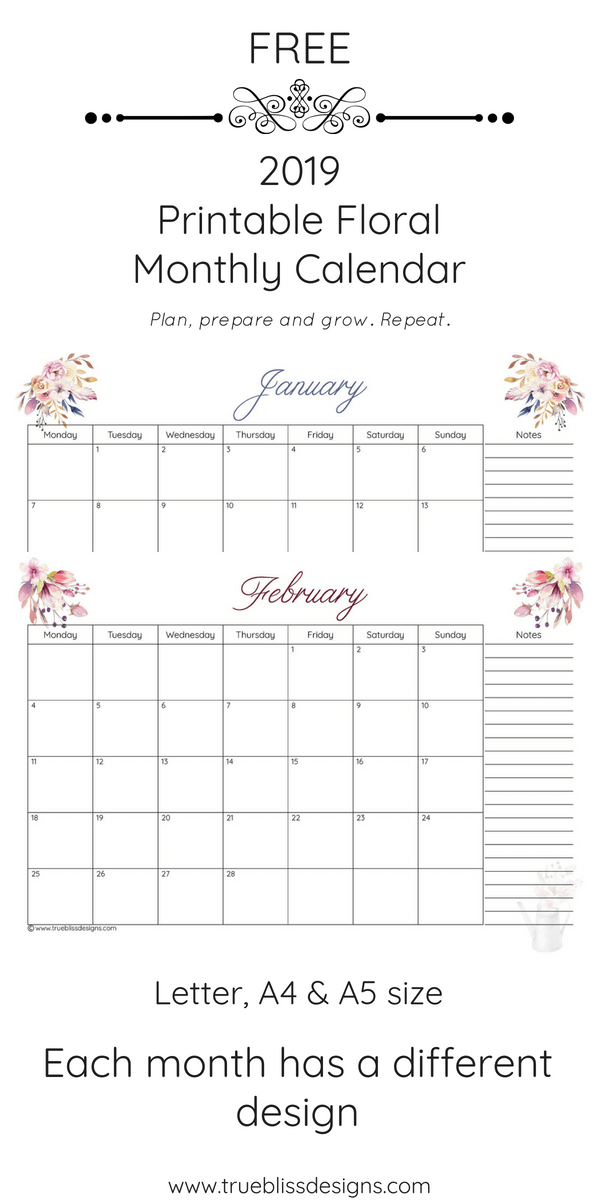 Add your important dates to this 2019 floral printable monthly calendar. This monthly calendar has a different watercolour design for every month and comes in Letter, A4 and A5 size. More freebies at www.trueblissdesigns.com.