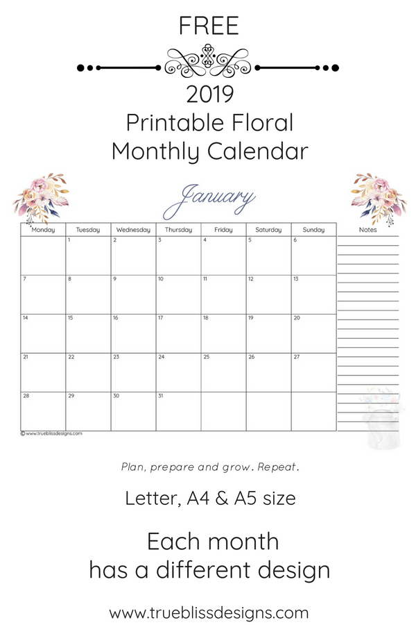 Start the New Year off with a free 2019 floral printable monthly calendar. This monthly calendar has a different watercolour design for every month and comes in Letter, A4 and A5 size. For more freebies, visit www.trueblissdesigns.com.