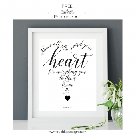 Sunday Scripture Printable Art Proverbs 4.23