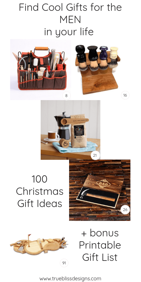 Searching for Christmas gifts for the man in your life? Check out this list of 100 ideas for him and others in your life. Also to help keep you organized is a free printable gift planner, available in 3 sizes.