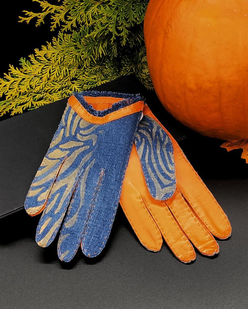 Kassia – Denim-Schafsleder Handschuhe, Orange