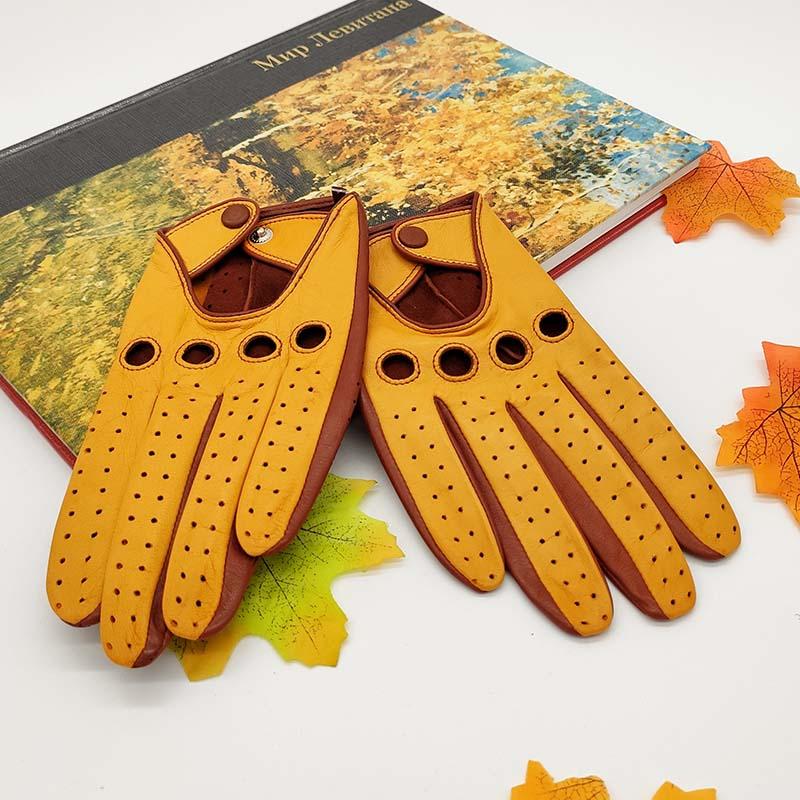 Verdi – Schafsleder Autofahrer-Handschuhe, Safran