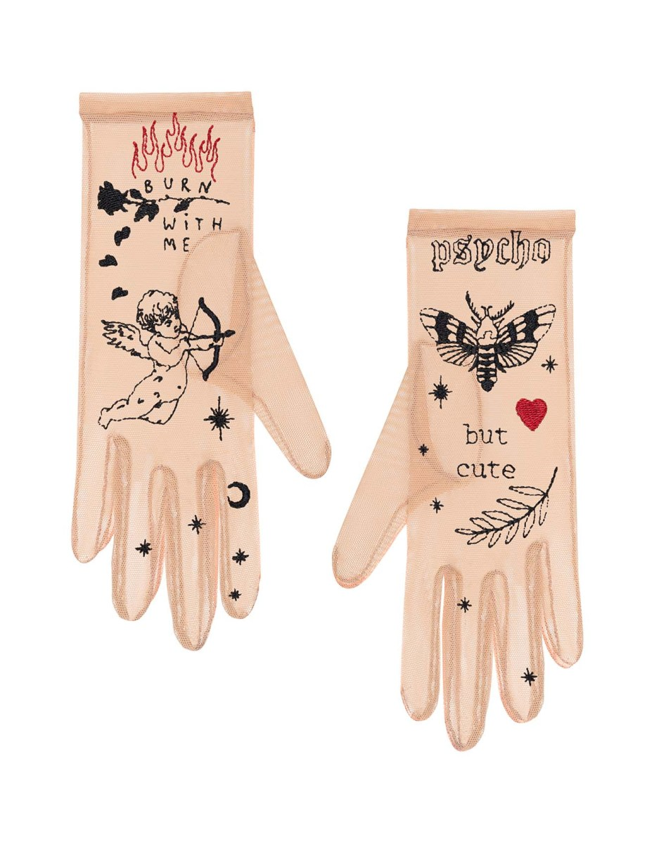 Psycho but Cute - Tattoo-Handschuhe italienische Netz hautfarbig
