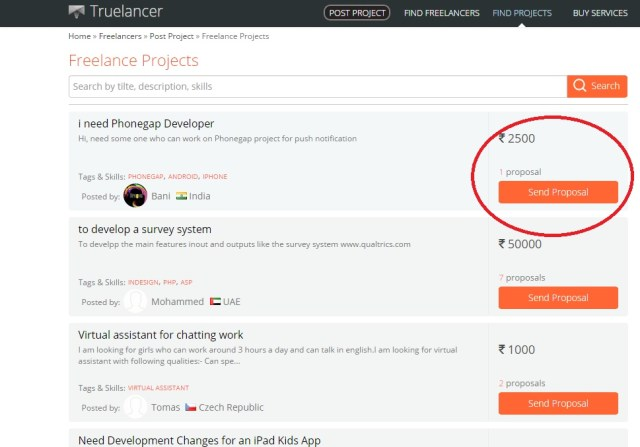 Find Projects on Truelancer