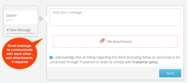 Message Box to Communicate | Truelancer