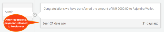 Payment Transfered to Freelancer