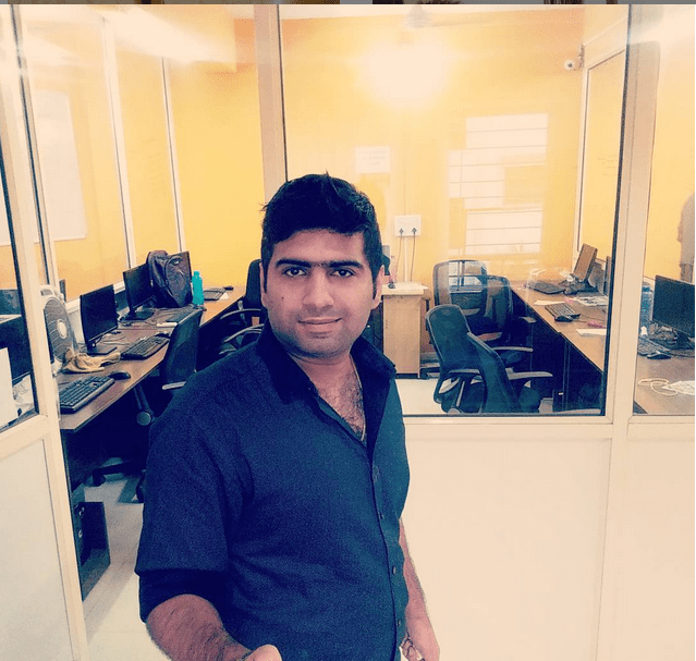 Aishwin Vikhona at his Aurangabad office