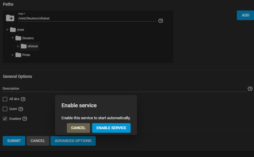 Services NFS Add Service Enable