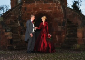 The early evening light at Shrewsbury Castle for this wedding photography shot at Laura's Tower