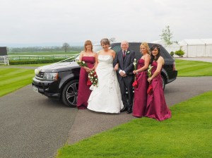 Arrival of the bride at Bangor on Dee Racecourse