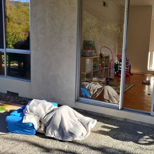 Felt just like being back in Oakland to have someone camping outside our door.