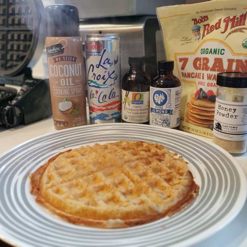 Getting my #waffle recipe strong.1 cup waffle mix1 egg1 cup cola-flavored @lacroixwater (what?!?)2 tbsp coconut oil, meltedDollop of whole milk yogurtSplash of vanillaSplash of almond extractAnd on top...Maple syrup or local honeyHoney Powder from @oaktownspice#everydayimwafflin