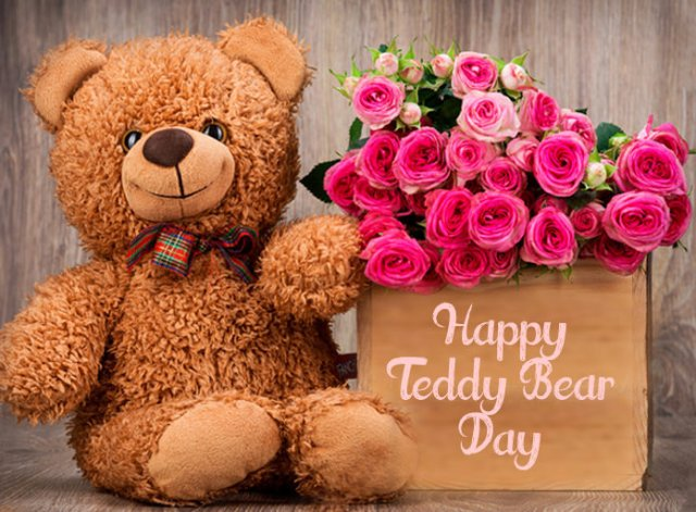 Happy Teddy Day Wishes with Flower for Lover - Cute Happy Teddy Day Images for Whatsapp