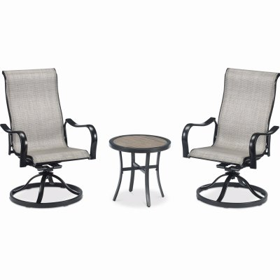 chesapeake 3 pc patio chat set gray beige with pewter aluminum frame
