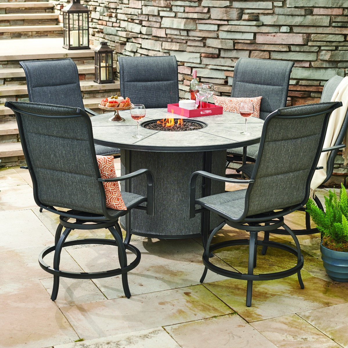 avellino fire pit counter height chair patio dining set