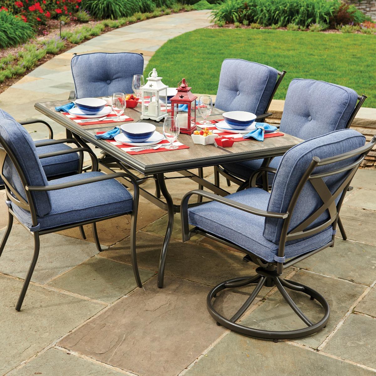 beaumont cushioned denim chair aluminum patio dining set