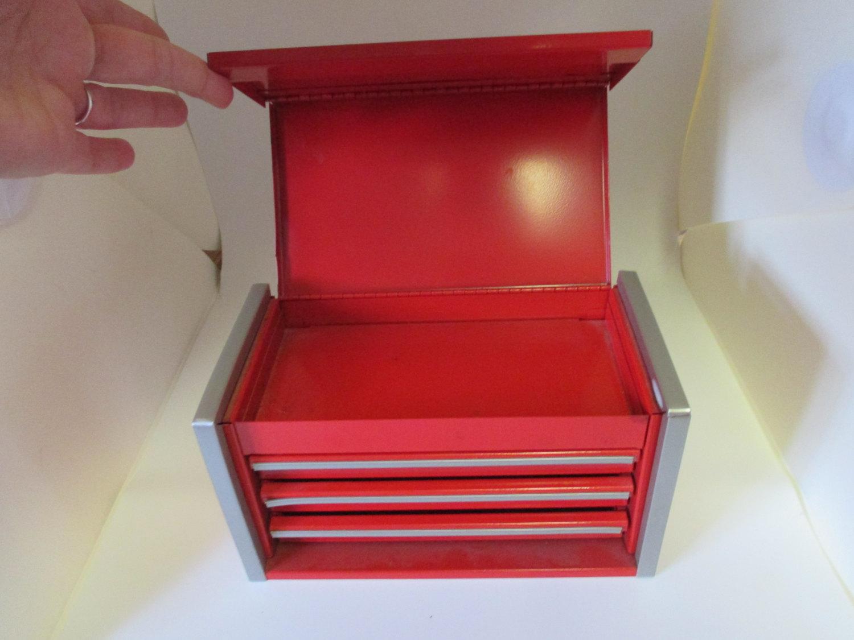 Vintage Snap On Tool Box Micro Mini Red Desktop Office Storage Trinkets Tools 3 Drawers Carol