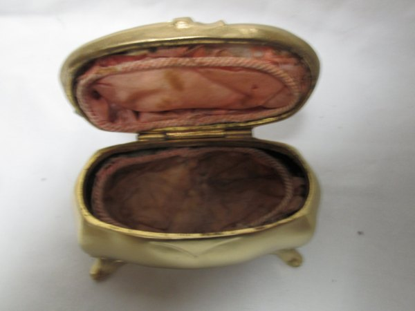 Antique J.B. Coffin Victorian Jewelry Box Footed Lined Metal Box