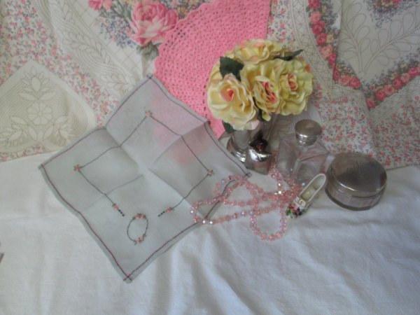 Beautiful Art Deco Hand embroidered hankie linen handkerchief pale blue with pink & black