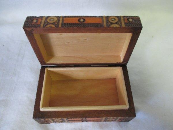 Vintage Wooden Box hand carved detailed design Made in Poland Mid century Modern Storage jewelry trinket box