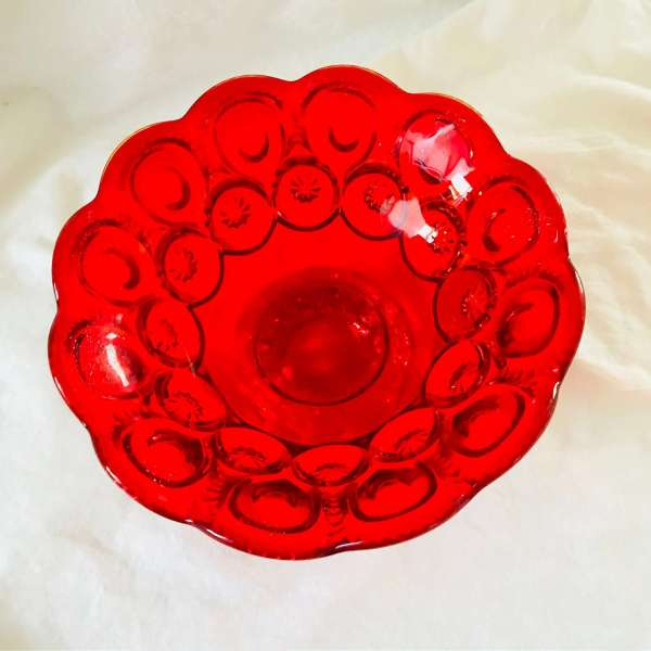 Amberina Compote center bowl flowers candy display collectible red and yellow moon and stars pattern