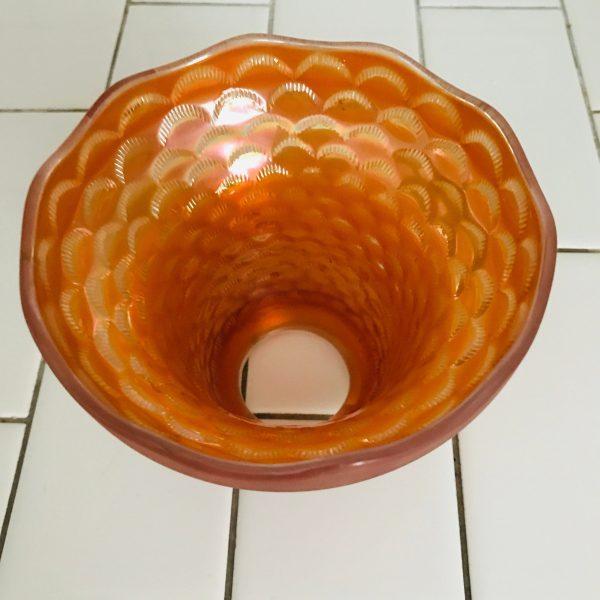 Antique Bridge Lamp glass shade globe Marigold Carnival Glass collectible lighting farmhouse vintage home decor