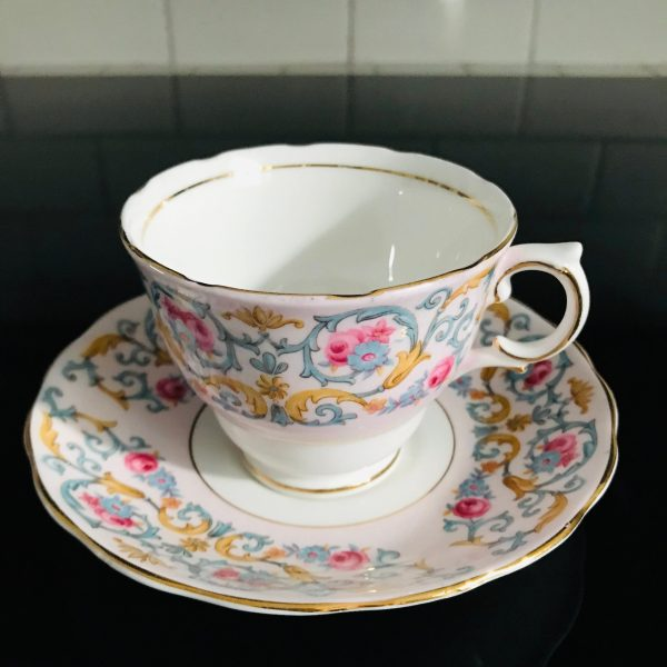 Colclough tea cup and saucer England Fine bone china pink with blue chintz scrolls & pink roses farmhouse collectible display