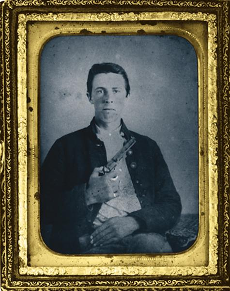 This 1860s daguerreotype states this Johnny Reb enlisted soldier was the younger brother of the southern lieutenant in the photo on p.60. For this photograph, he may have borrowed his brother's 1849 Colt. Such personal weaponry was more likely to be found among officers, but the guns were valued by any combatant who could get his hands on them.– True West Archives –