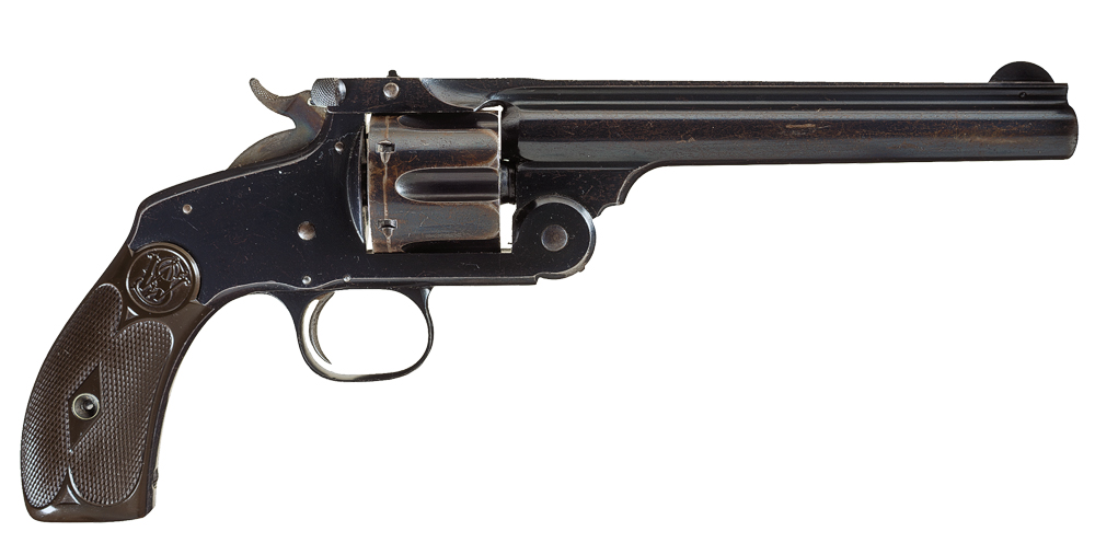 Although no one knows with any certainty which gun Virgil Earp (above) carried during the infamous Gunfight Near the OK Corral on October 26, 1881, he likely relied on his S&W New Model No. 3, single-action revolver in .44 Russian caliber. Chambered for a number of cartridges, it was eventually offered in more calibers than any other S&W top-break model, including .44 Henry rimfire, .32-40, .320, .38 S&W, .44 S&W American, .45 Schofield, .45 Webley, .450 revolver and more. – Courtesy Rock Island Auction Co. –