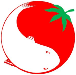 Logo aquaponie poisson truite tomate