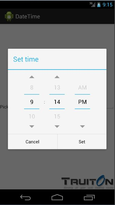 Android pick date time from EditText OnClick event - Truiton