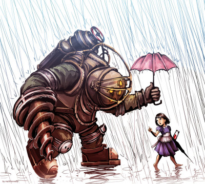 bioshock___big_daddy_in_the_rain_by_vadeg-d4xhxne