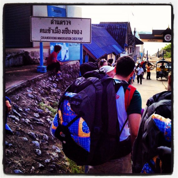 The border station on the Thai side was only marginally organized