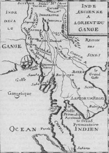 A map of 1715, incorrectly showing the Chao Praya river as a branch of the Mekong