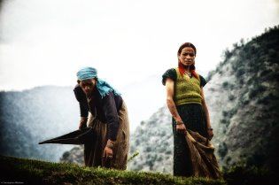 Women work in the fields of the Indian Himalayas on June 25, 2012. Climate change is causing the retreat of Himalayan glaciers and threatening the livelihood and culture of many in the region.