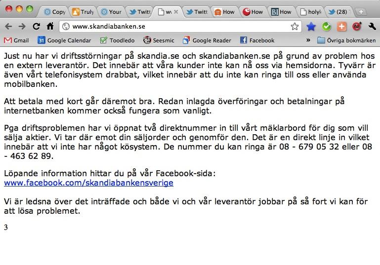 Skandiabanken krishanterar på Facebook