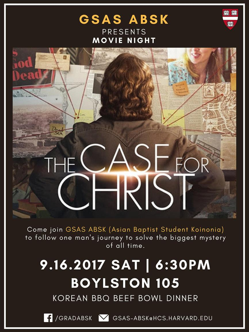 Movie Night The Case For Christ Harvard College