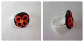 anillo fimo flor