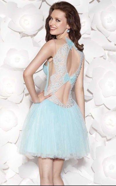 vestido coctel barato celeste